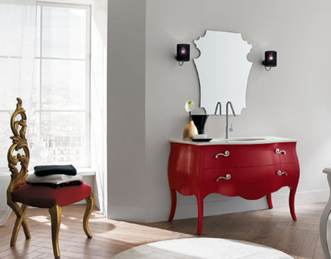Rab Arredobagno 700 vanity in Red with contemporary mirror and faucet