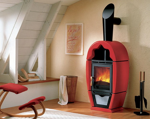 red fireplaces piazzetta 1 Red Stoves by Piazzetta