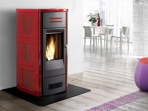 red fireplaces piazzetta 2 Red Stoves by Piazzetta