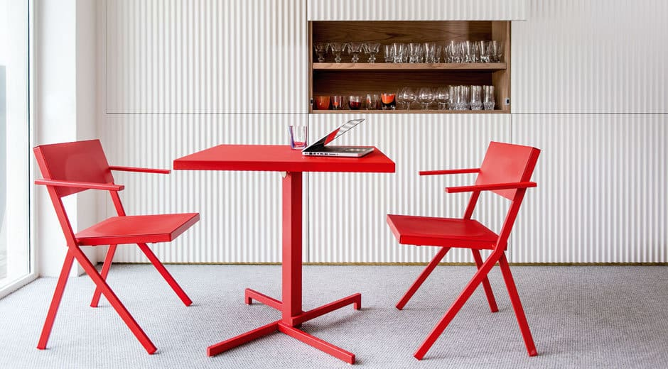 Red Table and Chairs set Mia from Emu by Jean Nouvel