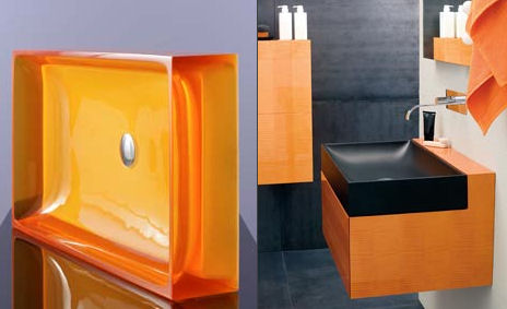 regia juke box glass basin Regia Juke Box Light Vanity: Transparent Basin