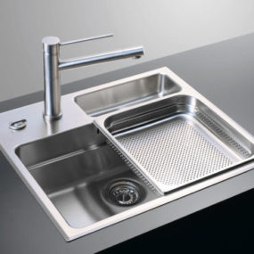 Waterstation Cubic 600 kitchen sink from Rieber – the sliding sink trays