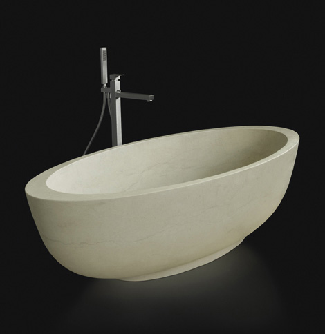 rifra stone tub 2008 2008 Bathroom Collection from Rifra   Encase yourself in luxury with stone, egg shaped bathtubs!