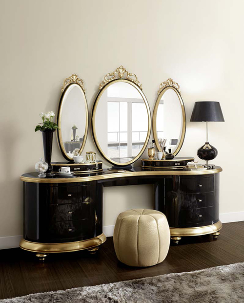 romantic dressing table black gold by jetclass venezia 2 Romantic Dressing Table by Jetclass   Venezia