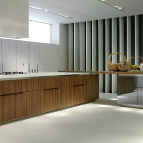 Designer Kitchen from Rossan – Geneva (Ginevra) kitchen design in walnut, lacquer & glass