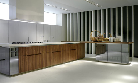 rossana kitchen geneva 1 Designer Kitchen from Rossan   Geneva (Ginevra) kitchen design in walnut, lacquer & glass