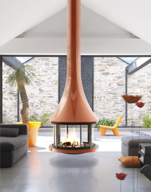 Round Suspended Fireplace with Glossy Burnt Orange Finish