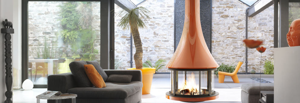 round suspended fireplace with glossy burnt orange finish 2