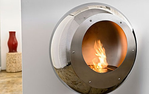 round wall mount fireplace mirror finish stainless steel cocoon fires vellum 2