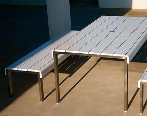 Royal Botania Kennebunk outdoor table with two benches