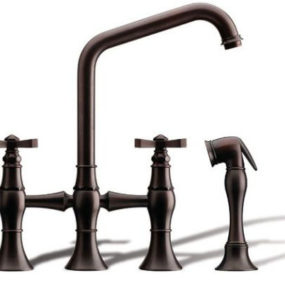 Kitchen bridge faucet from Rubinet – the Hexis transitional kitchen faucet