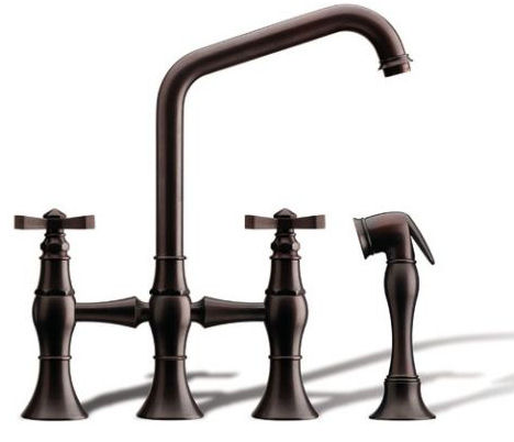 rubinet hexis kitchen bridge faucet Kitchen bridge faucet from Rubinet   the Hexis transitional kitchen faucet