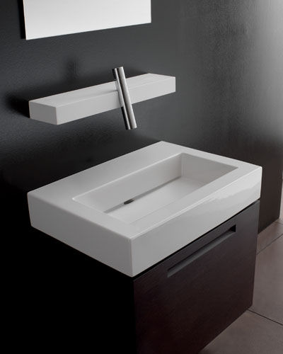 rubinetterie treemme blok lavatory faucet Bathroom Faucets from Treemme   the new Blok bathroom faucet and shelf combo