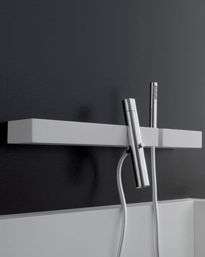 rubinetterie treemme blok tub filler Bathroom Faucets from Treemme   the new Blok bathroom faucet and shelf combo