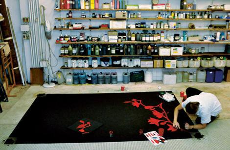 ruckstuhl rug red flower 3