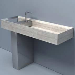 Washbasin made of Lithoverde eco-compatible stone by Salvatori