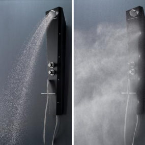 Shower Panel System by Samo comes with waterfall and drop spraying jets