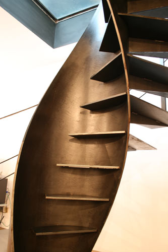 Metal spiral staircase etika architectural staircase for Spiral stair design