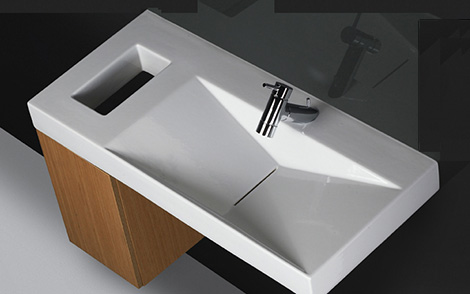 Sanindusa Flux wall hung vanity and basin