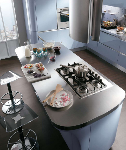 Scavolini kitchen Tess - island stainless steel countertop top view