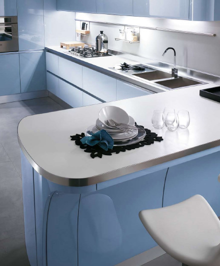 Scavolini kitchen Tess - curved front cabinets