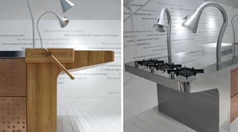 Schiffini concept kitchen - island detail in natural wood with adjustable lamps