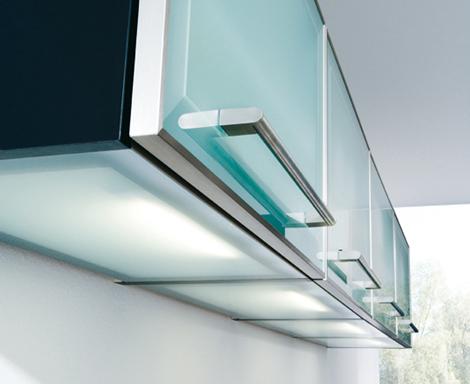 Schueller Avantgarde - glass overhead cupboards