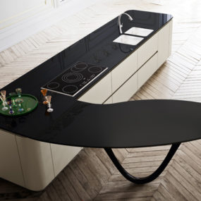 Sculptural Kitchen Island Worktop by Snaidero and Pininfarina