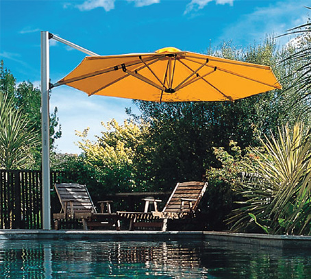 Shademakers Solano parasol is a cantilevered umbrella