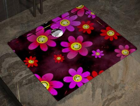 Showart shower tray Linea Texture - cartoon daisy pattern