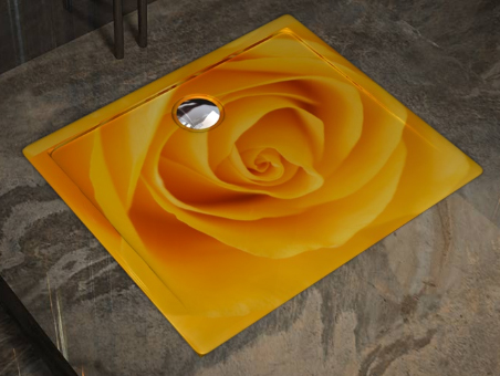 Showart shower tray Linea Texture - yellow rose pattern