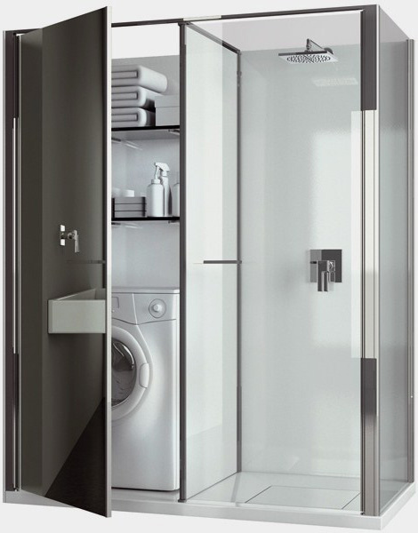 shower cabin vismaravetro twin Compact Laundry / Shower Cabin Combo for Small Spaces by Vismaravetro