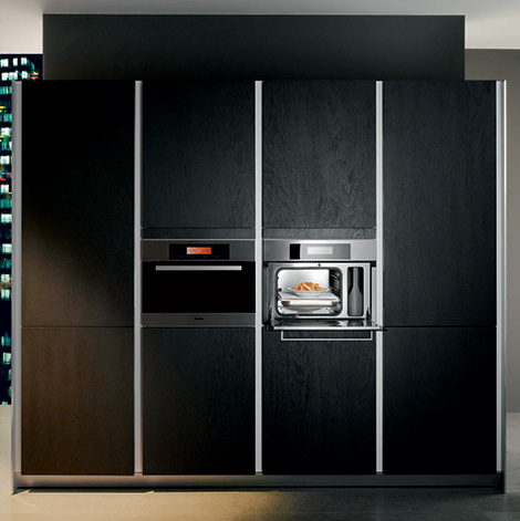 Siematic S1 kitchen dark Sukupira wood storage