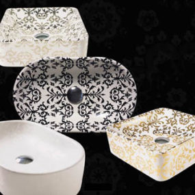 Decorated Bathroom Fixtures from Simas – Impronte bathroom fixture range