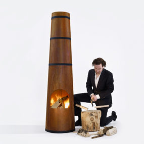 Smokestack Wood Burning Garden Heater by Frederik Roije