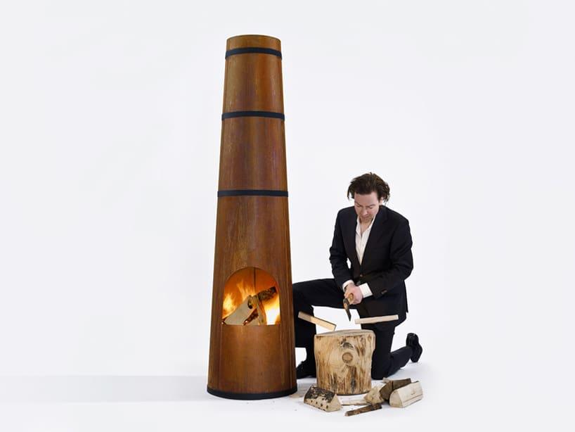 Smokestack Wood Burning Garden Heater by Frederik Roije