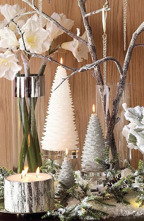 sparkling tree & metallic bark candles