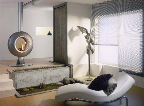 spartherm gas fireplace diva remote control Rotating Fireplace from Spartherm   Diva gas fireplace with remote control