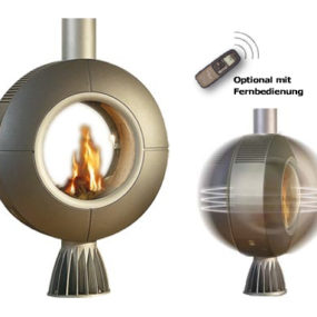 Rotating Fireplace from Spartherm – Diva gas fireplace with remote control