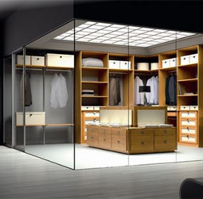 Walk In Closet Design with Glass Walls by Spazzi