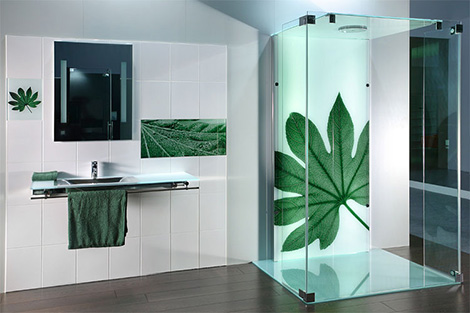 Printed Glass Tiles and Printed Shower Doors by Sprinz – photorealistic images