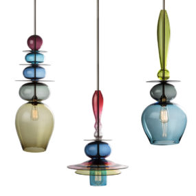 Stacked Glass Light Chandeliers by Esther Patterson