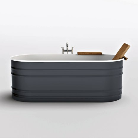 Great Steel Tub Agape Vieques Grey Steel Tub From Agape New Vieques VAS911 Has A  Rustic Appeal
