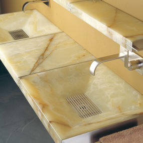 Modern Natural Stone Sink from Stone Forest – new Sync system with futuristic grill drains