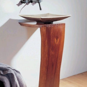 Wood pedestal sink by Stone Forest: L-slab design