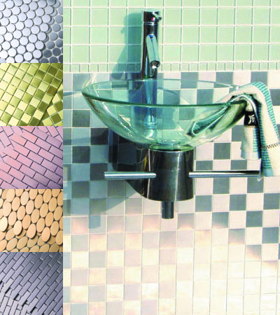 stone source elements metal tiles Metal Tiles from Stone Source   the Elements Stainless Steel Mosaic Tile