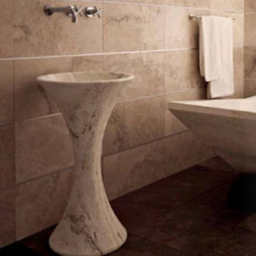 Vaselli Slim Pedestal Basin from Stonell – the stone pedestal