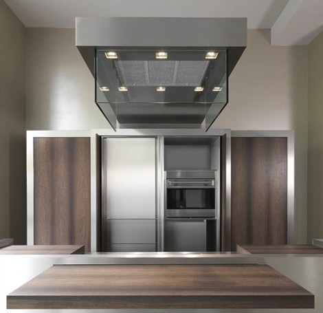 Contemporary Kitchen by Strato – Sliding Island Top and Movable Storage Wall!