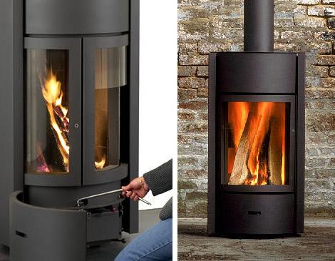 Contemporary Wood Burning Stoves by Stuv  3-position turning door rocks!