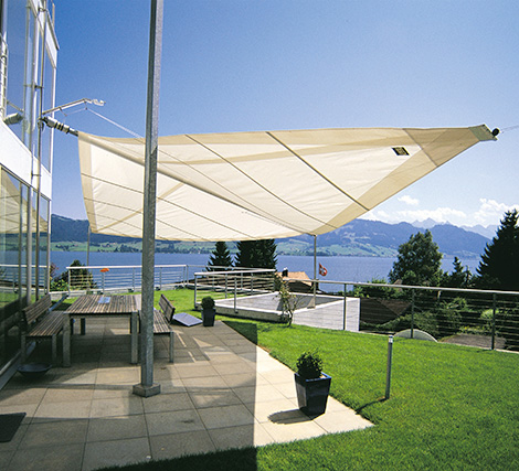 Sun Square Rain Protection1 Retractable Awning From SunSquare Electric Canopy With Automatic Wind Sensor